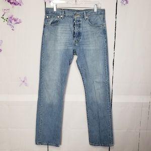 Levis 501 Blue Button Fly Jeans Original Fit 33
